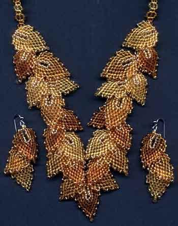 схема листья из бисера